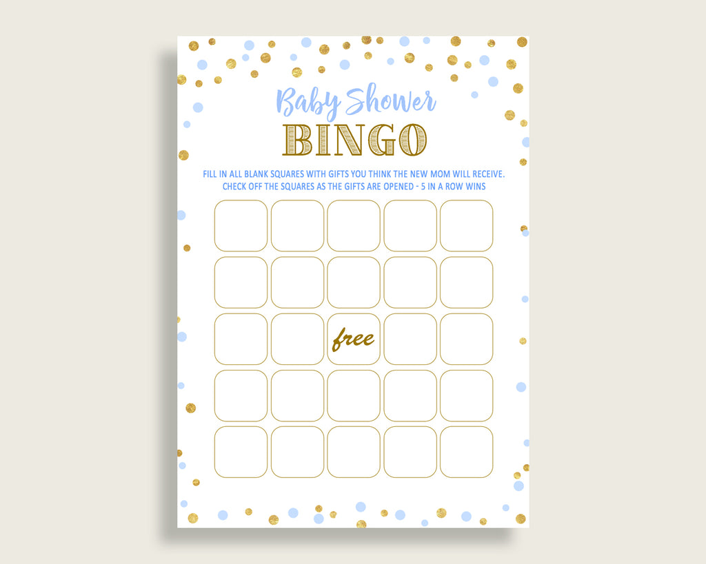 Empty Bingo Baby Shower Empty Bingo Confetti Baby Shower Empty Bingo Blue Gold Baby Shower Confetti Empty Bingo party ideas prints cb001