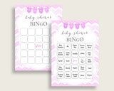 Chevron Baby Shower Bingo Cards Printable, Pink White Baby Shower Girl, 60 Prefilled Bingo Game Cards, Popular Zig Zag Theme cp001