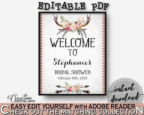 Antlers Flowers Bohemian Bridal Shower Bridal Shower Welcome Sign Editable in Gray and Pink, welcome sign, party ideas, prints - MVR4R - Digital Product