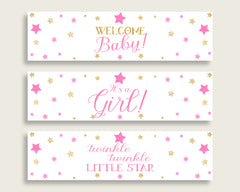 Pink Gold Water Bottle Labels Printable, Twinkle Star Water Bottle Wraps, Twinkle Star Baby Shower Girl Bottle Wrappers, Instant bsg01