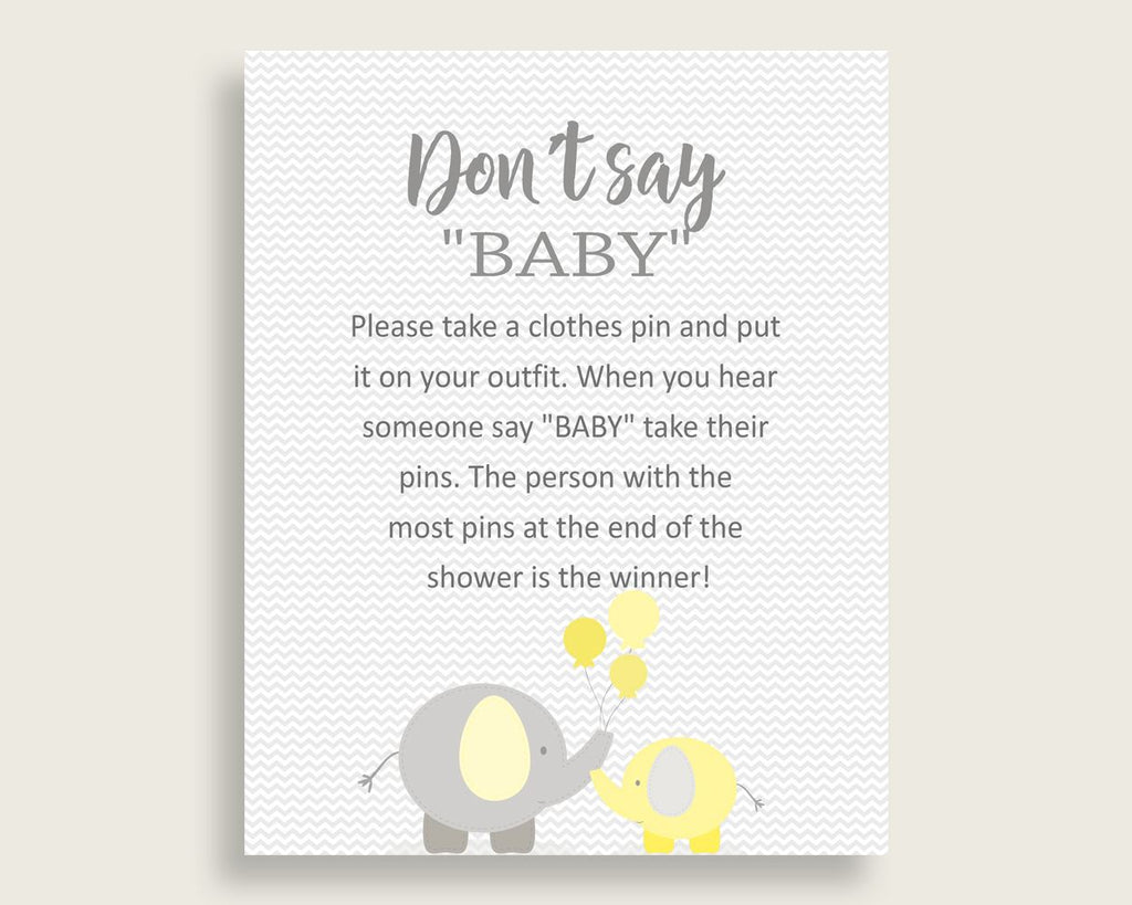 Dont Say Baby Baby Shower Dont Say Baby Yellow Baby Shower Dont Say Baby Baby Shower Elephant Dont Say Baby Yellow Gray party décor W6ZPZ
