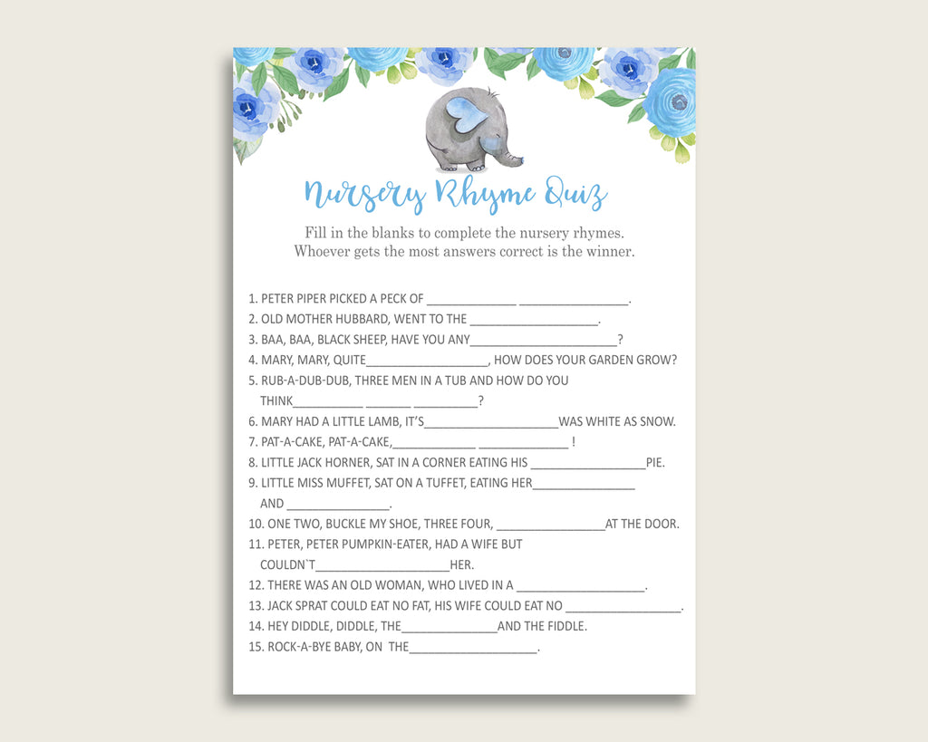 Elephant Blue Nursery Rhyme Quiz Printable, Blue Gray Nursery Rhyme Game, Blue Gray Baby Shower Boy Activities, Instant Download, ebl01