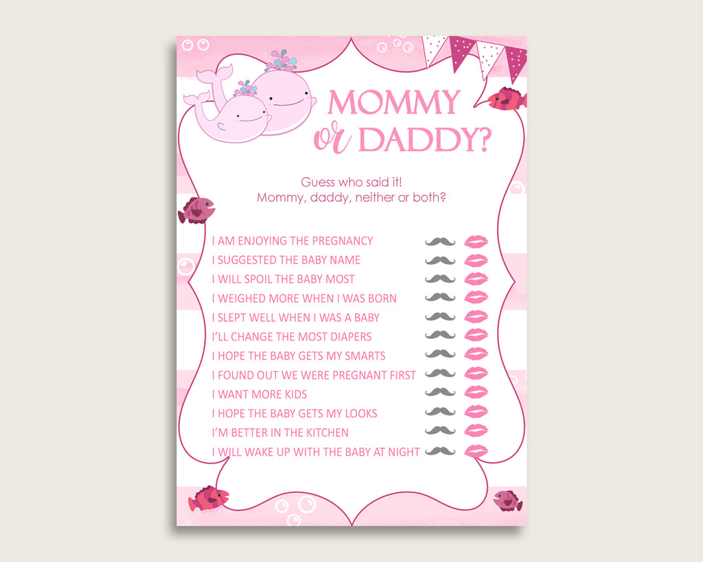 Pink White Mommy Or Daddy Baby Shower Girl Game Printable, Pink Whale Guess Who Said It, He Said She Said, Instant Download, Popular, wbl02