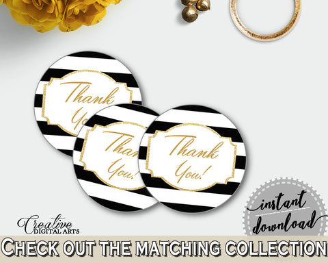 Baby shower THANK YOU round tag or sticker printable with black white stripes color theme for boys girls, digital, instant download - bs001