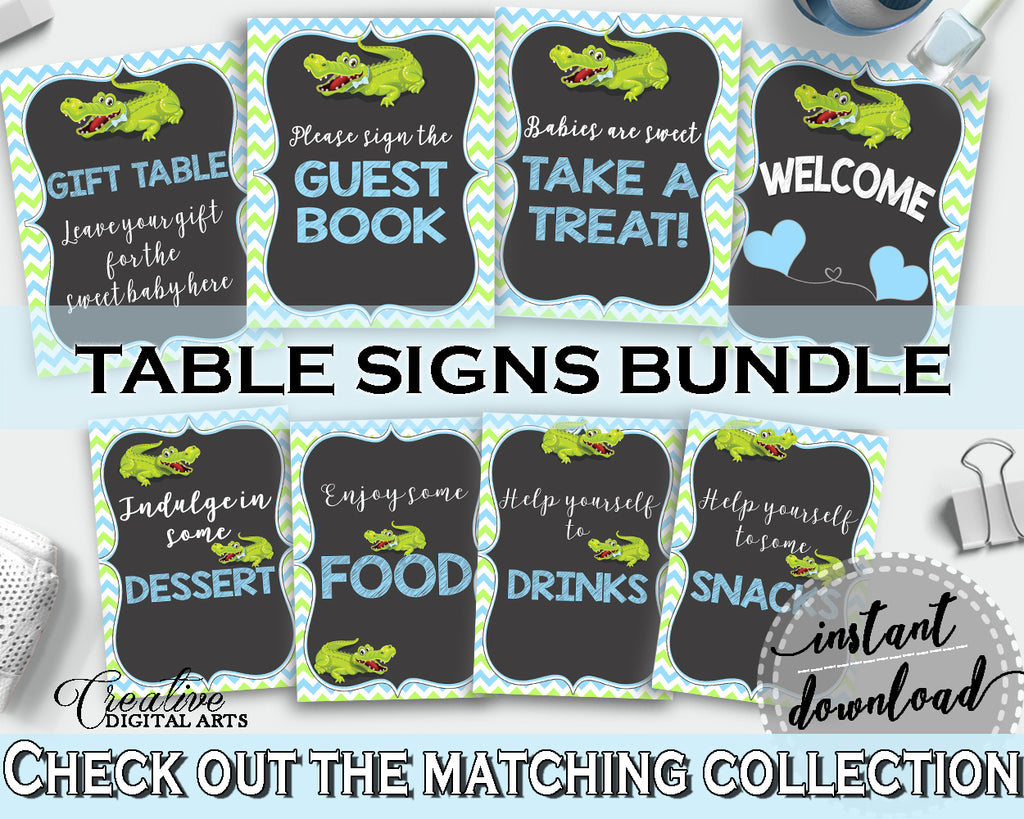 Baby shower TABLE SIGNS decoration printable with green alligator and blue color theme, instant download - ap002