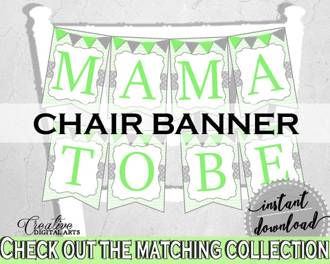 Baby shower CHAIR BANNER decoration printable with chevron green theme, digital files Jpg Pdf, instant download - cgr01