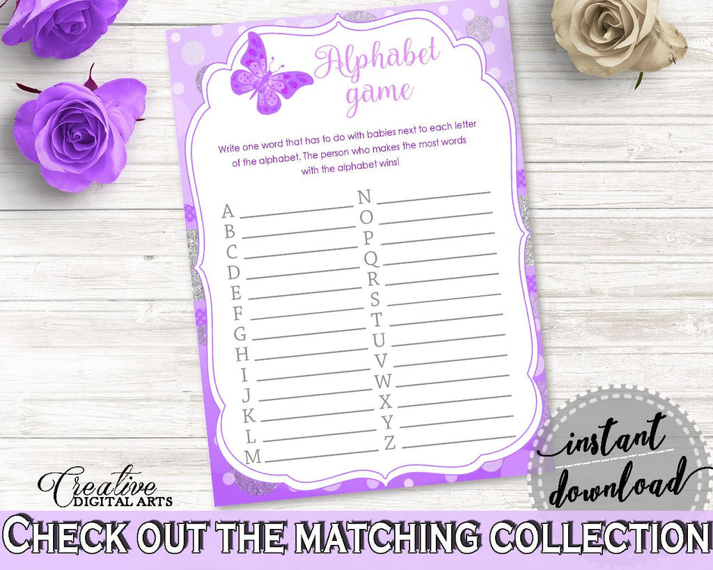 Alphabet Game Baby Shower Alphabet Game Butterfly Baby Shower Alphabet Game Baby Shower Butterfly Alphabet Game Purple Pink prints 7AANK - Digital Product