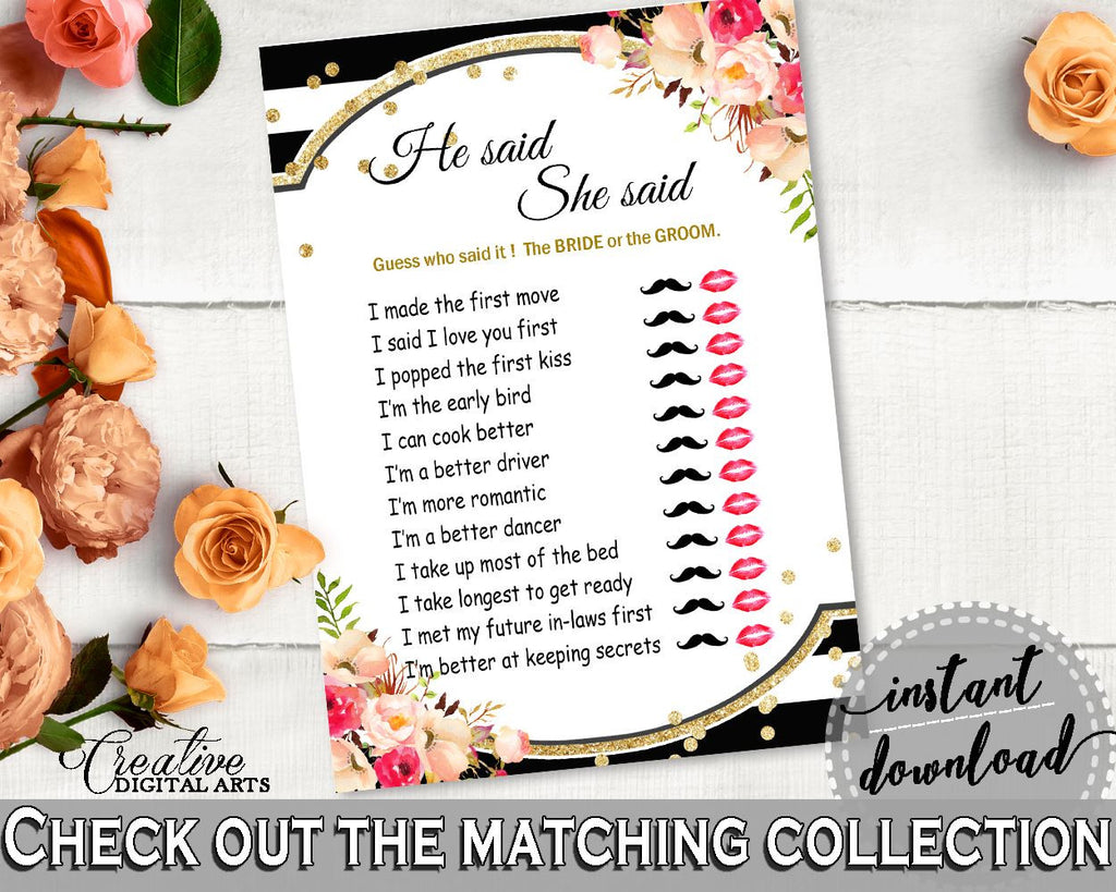 Black And Gold Flower Bouquet Black Stripes Bridal Shower Theme: He Said She Said Game - guess who said it, customizable files - QMK20 - Digital Product