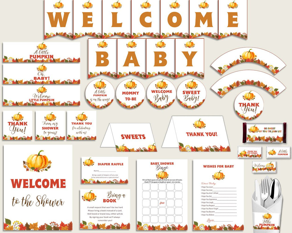 Decorations Baby Shower Decorations Fall Baby Shower Decorations Baby Shower Pumpkin Decorations Orange Brown pdf jpg party décor BPK3D - Digital Product