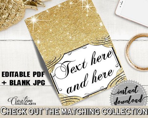 Glittering Gold Bridal Shower Food Tent in Gold And Yellow, food tent labels, yellow theme, party organization, party plan, prints - JTD7P - Digital Product