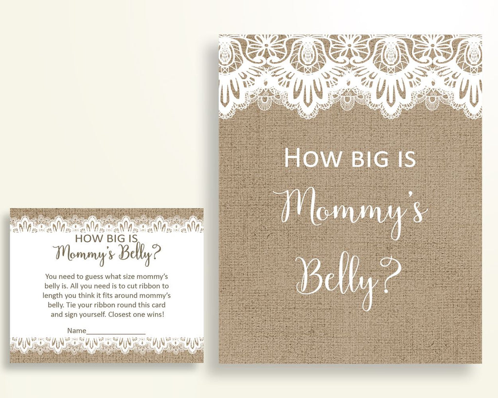 Mommy's Belly Baby Shower Mommy's Belly Burlap Lace Baby Shower Mommy's Belly Baby Shower Burlap Lace Mommy's Belly Brown White W1A9S - Digital Product
