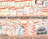 Orange Baby Shower Decorations package Stripes bundle glitter printable, baby shower girl, digital Jpg Pdf - Instant Download - bs003
