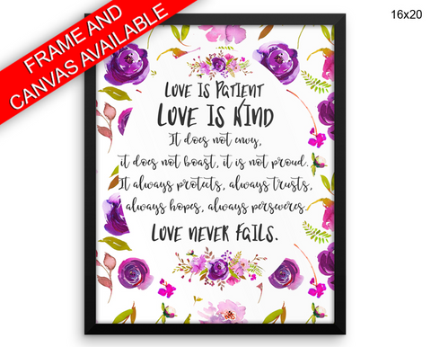 Love Is Patient Love Is Kind Print, Beautiful Wall Art with Frame and Canvas options available