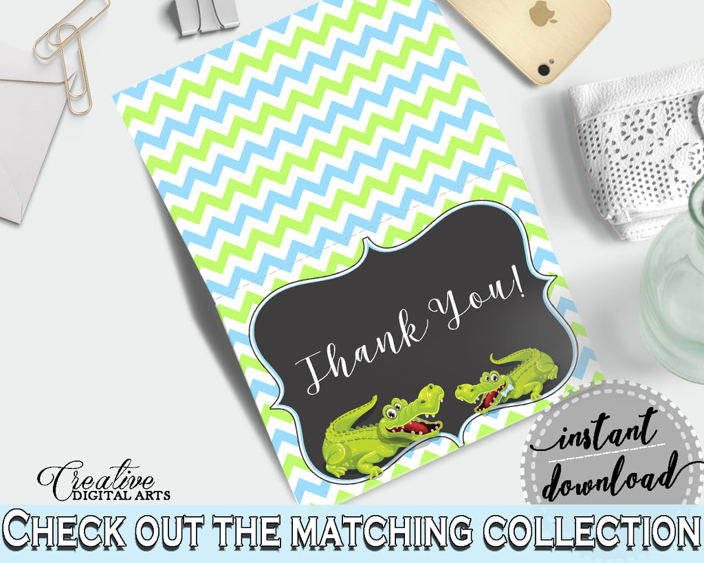 Baby shower THANK YOU card printable with green alligator and blue color theme for boys, instant download - ap002