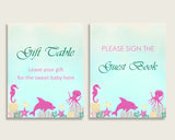 Under The Sea Baby Shower Girl Table Signs Printable, Pink Green Party Table Decor, Favors, Food, Drink, Treat, Guest Book, Instant uts01