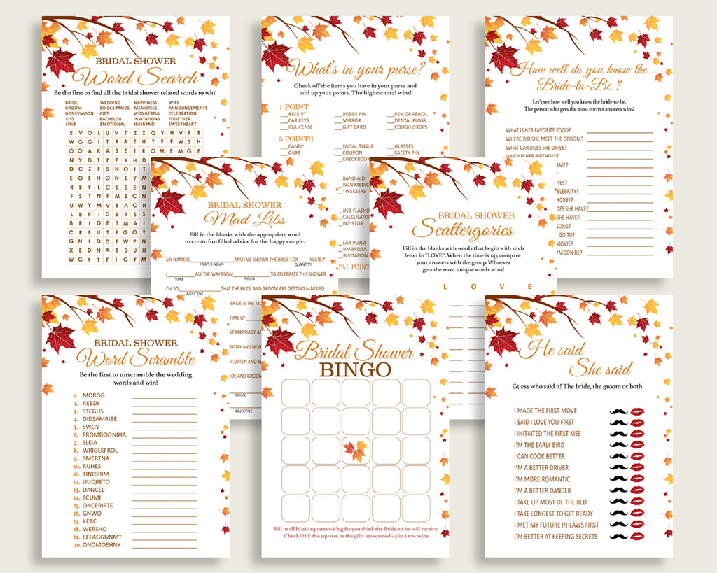 games bridal shower games fall bridal shower games bridal shower autumn games brown yellow digital print