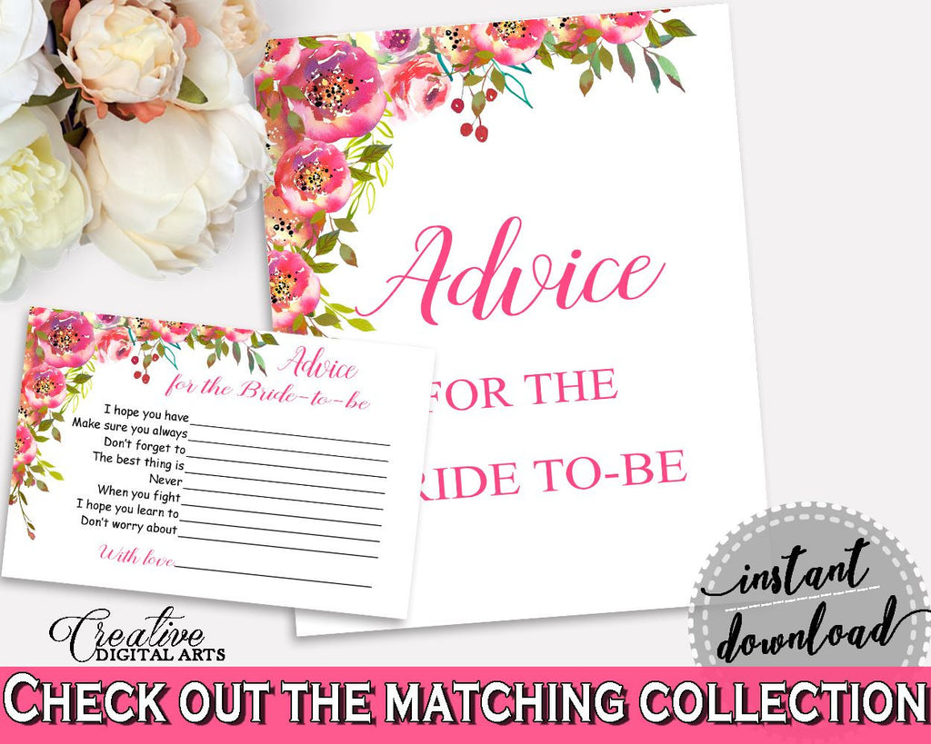 Advice Cards Bridal Shower Advice Cards Spring Flowers Bridal Shower Advice Cards Bridal Shower Spring Flowers Advice Cards Pink Green UY5IG - Digital Product