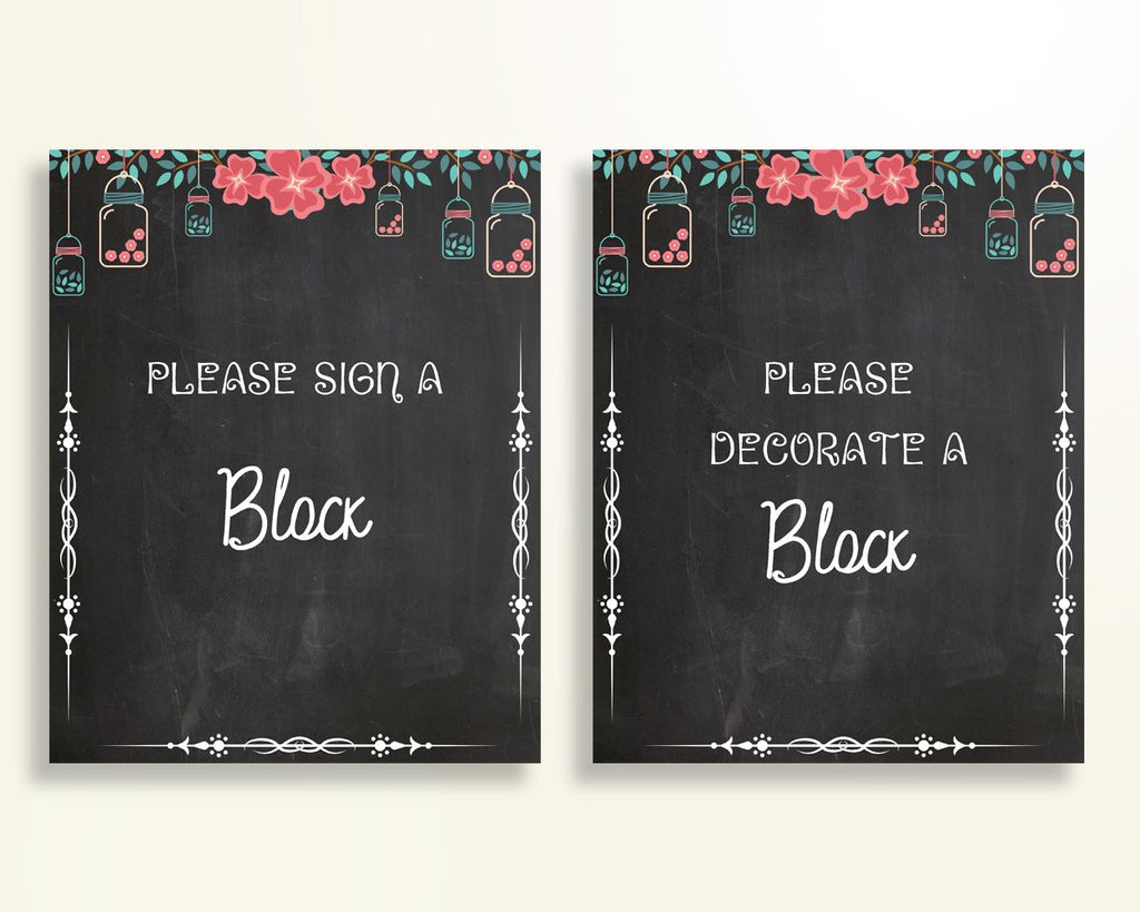 Sign A Block Baby Shower Decorate A Block Chalkboard Baby Shower Sign A Block Baby Shower Chalkboard Decorate A Block Black Pink NIHJ1 - Digital Product