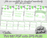 Baby shower boy TABLE SIGNS decoration printable with chevron green theme, digital files Jpg Pdf, instant download - cgr01
