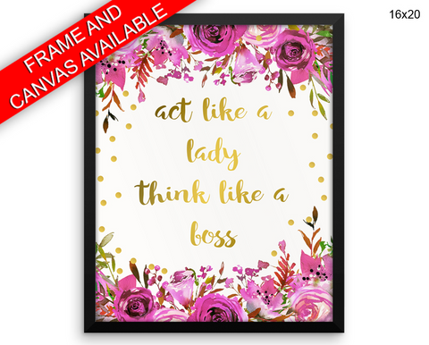 Boss Lady Print, Beautiful Wall Art with Frame and Canvas options available Office Decor