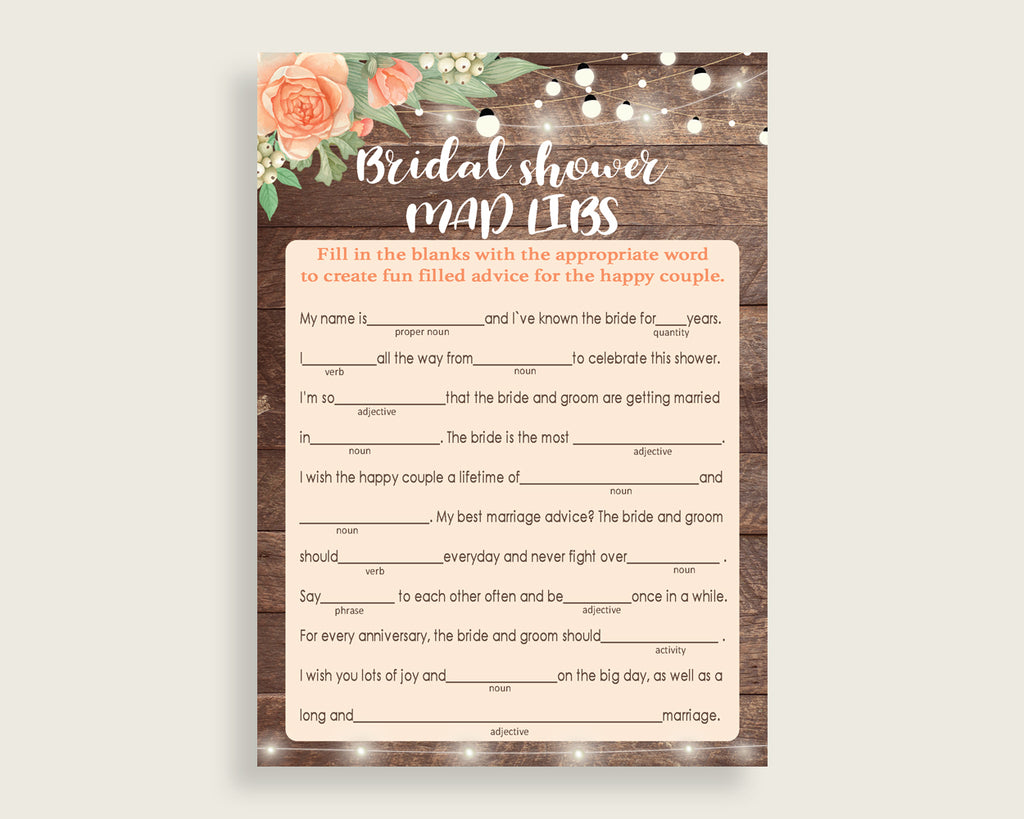 Mad Libs Bridal Shower Mad Libs Rustic Bridal Shower Mad Libs Bridal Shower Flowers Mad Libs Brown Beige pdf jpg party supplies party SC4GE