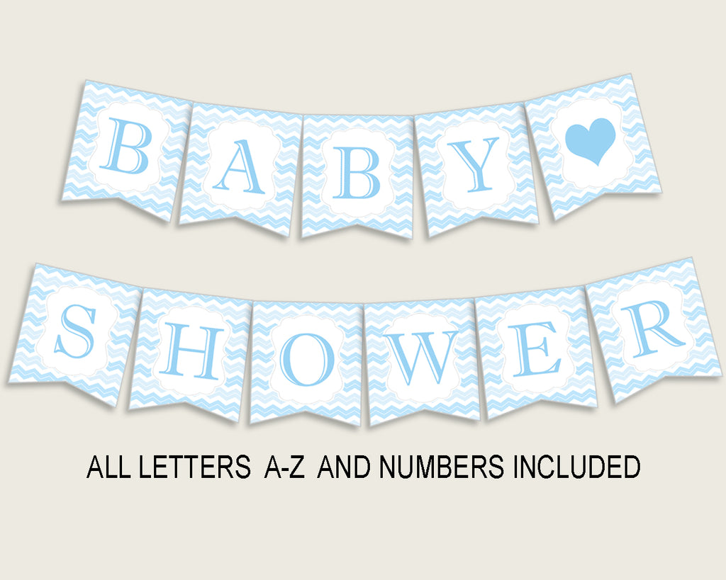 Chevron Baby Shower Banner All Letters, Birthday Party Banner Printable A-Z, Blue White Banner Decoration Letters Boy, Light Blue cbl01