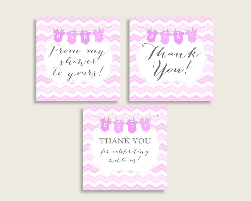 Chevron Baby Shower Square Thank You Tags 2 inch Printable, Pink White Girl Shower Gift Tags, Hang Tags Labels, Instant Download cp001