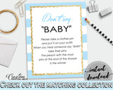 DON'T SAY BABY printable game for baby shower with blue and white stripes, glitter gold, digital files, Jpg Pdf, instant download - bs002