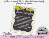Baby shower DIAPER THOUGHTS game with green alligator and pink color theme, instant download - ap001