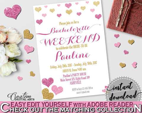 Bachelorette Weekend Invitation Editable in Glitter Hearts Bridal Shower Gold And Pink Theme, bash weekend,  valentine shower,  - WEE0X - Digital Product
