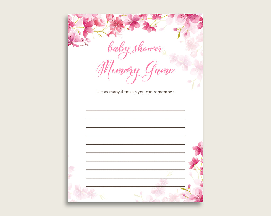Cherry Blossom Baby Shower Memory Game Pink White Memory Guessing