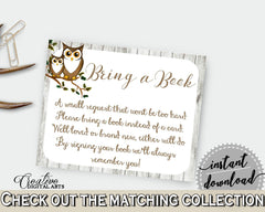 Bring A Book Baby Shower Bring A Book Owl Baby Shower Bring A Book Baby Shower Owl Bring A Book Gray Brown party theme - 9PUAC - Digital Product