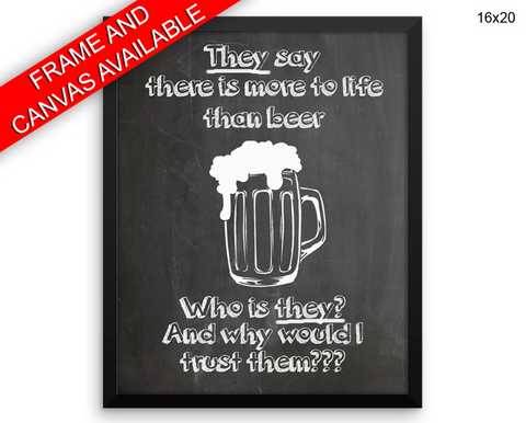Beer Print, Beautiful Wall Art with Frame and Canvas options available Bar Decor