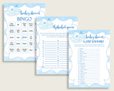 Whale Baby Shower Games Printable Pack, Blue White Baby Shower Games Package Boy, Whale Games Bundle Set, Instant Download, Light Blue wbl01