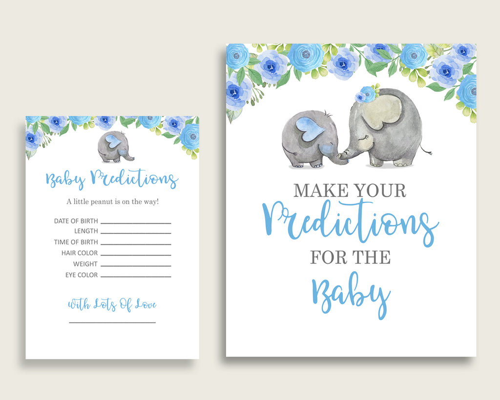 Elephant Blue Baby Shower Prediction Cards & Sign Printable, Blue Gray Baby Prediction Game Boy, Instant Download, Africa or Jungle ebl01
