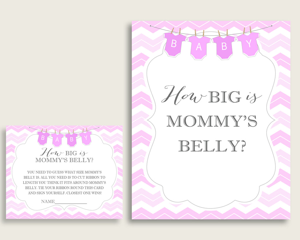 Pink White How Big Is Mommy's Belly Game, Chevron Baby Shower Girl, Guess Mommys Belly Size, Mommy Tummy Game, Instant Download, cp001
