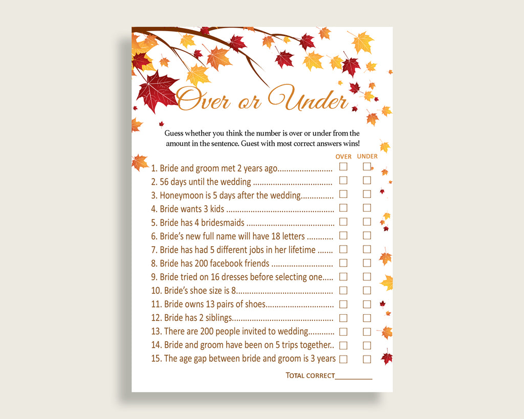 Over Or Under Bridal Shower Over Or Under Fall Bridal Shower Over Or Under Bridal Shower Autumn Over Or Under Brown Yellow pdf jpg YCZ2S