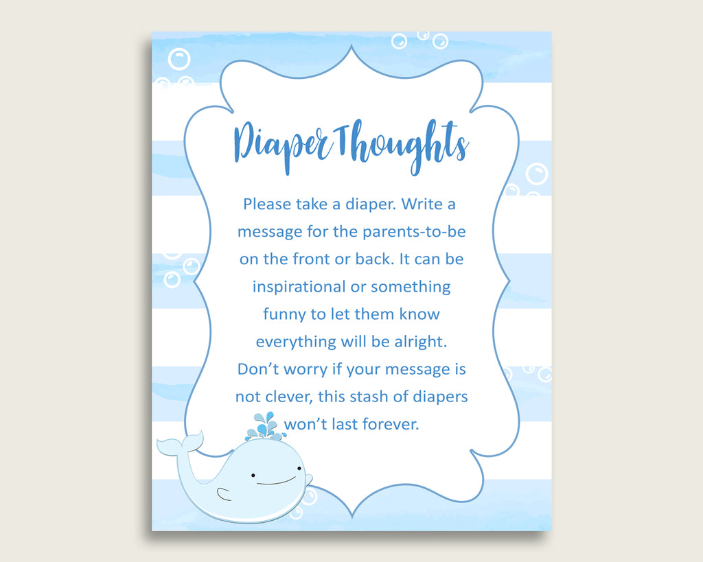Whale Baby Shower Diaper Thoughts Printable, Boy Blue White Late Night Diaper Sign, Words For Wee Hours, Write On Diaper Message, Sign wbl01