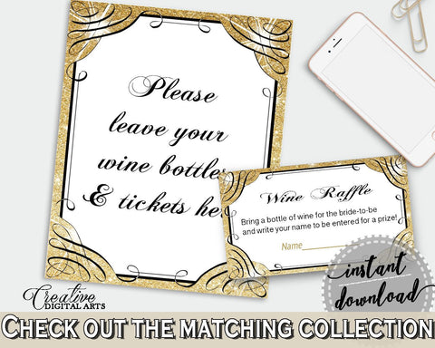 Glittering Gold Bridal Shower Wine Raffle in Gold And Yellow, sign and card, shine bridal, shower celebration, bridal shower idea - JTD7P - Digital Product