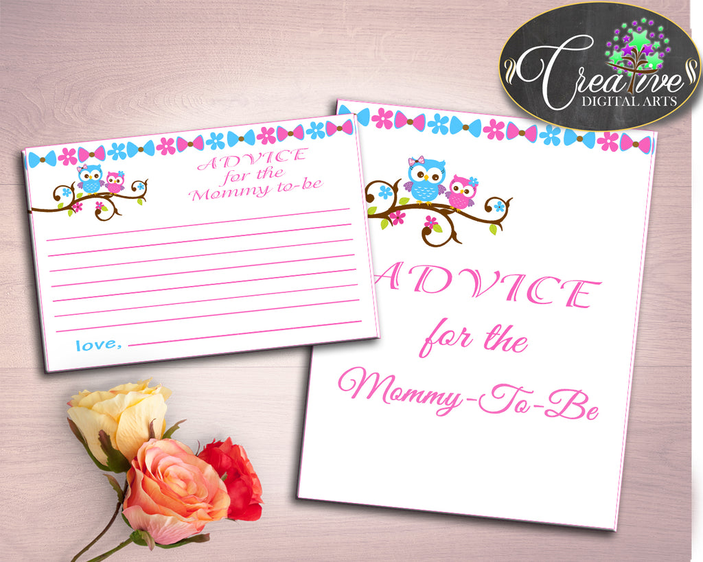 Advice Cards Baby Shower Advice Cards Owl Baby Shower Advice Cards Baby Shower Owl Advice Cards Pink Blue paper supplies prints owt01