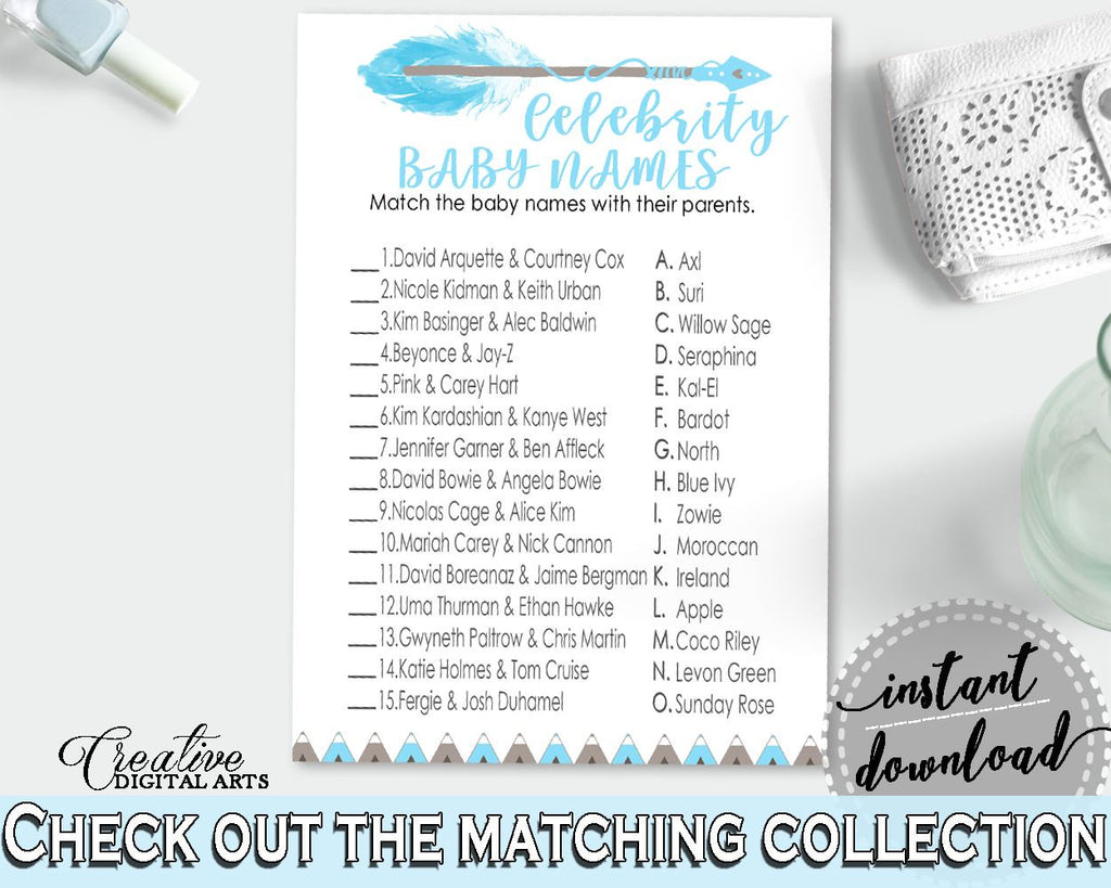 Celebrity Baby Names Baby Shower Celebrity Baby Names Aztec Baby Shower Celebrity Baby Names Blue White Baby Shower Aztec Celebrity QAQ18 - Digital Product