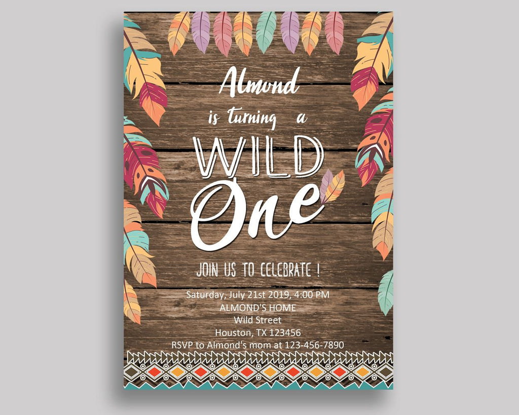 Wild One Birthday Invitation Feathers Party Boy Girl