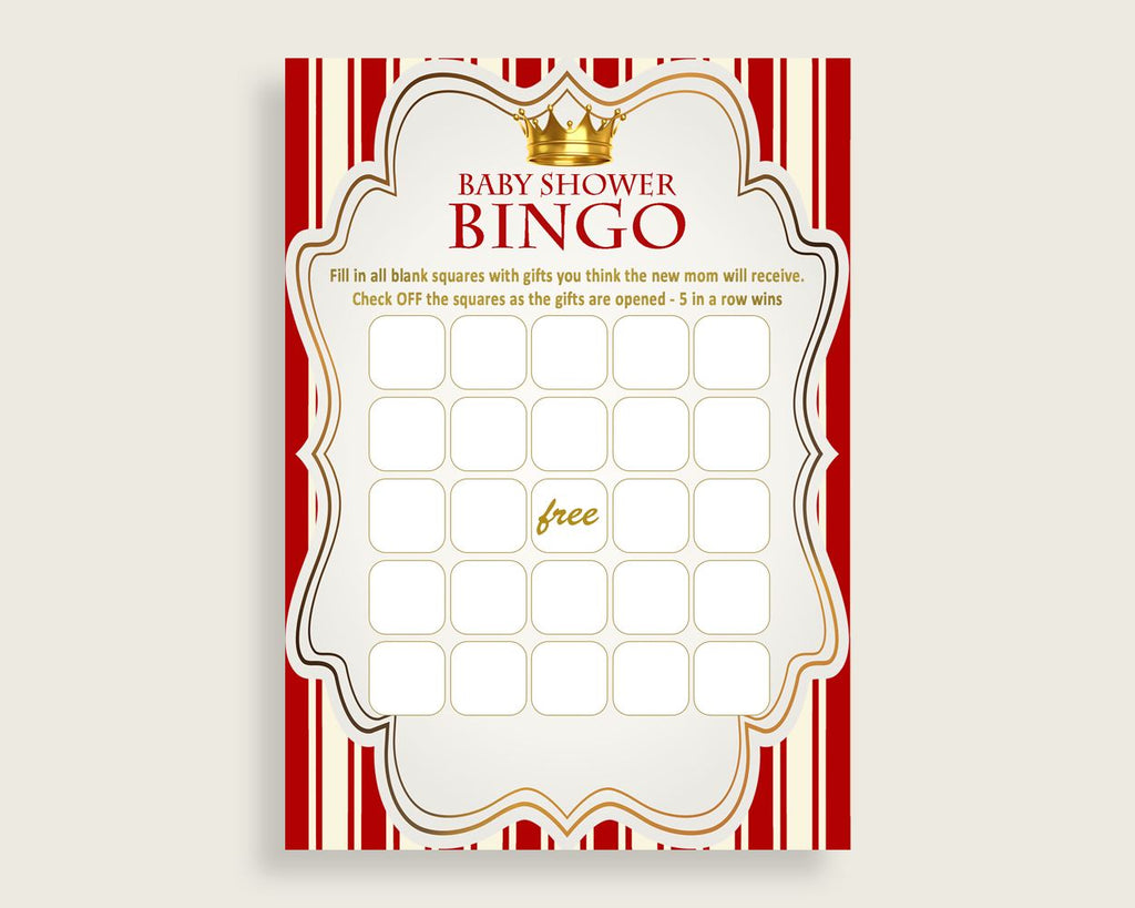 Red Gold Baby Shower Bingo Blank Game Printable, Prince Baby Shower Boy Bingo Blank Cards, Bingo Gift Opening Game, Cute Theme Crown 92EDX