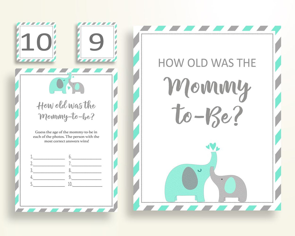 How Old Was Mommy Baby Shower How Old Was Mommy Turquoise Baby Shower How Old Was Mommy Baby Shower Elephant How Old Was Mommy Green 5DMNH - Digital Product