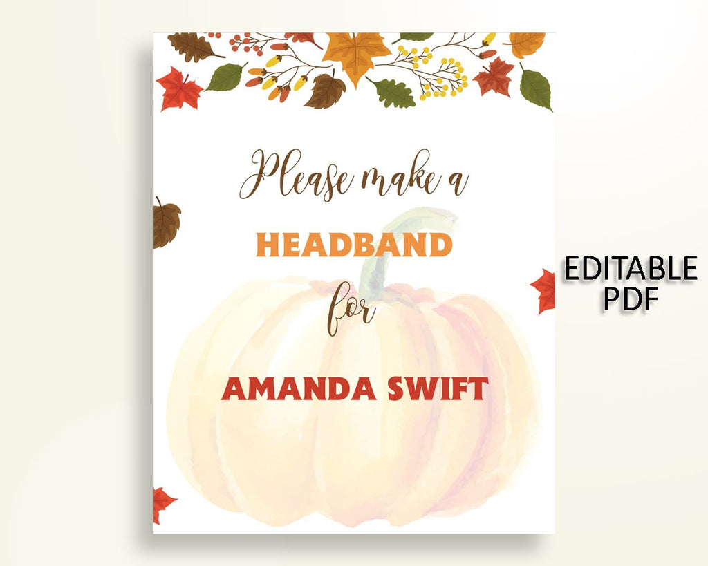 Headband Sign Baby Shower Headband Sign Autumn Baby Shower Headband Sign Baby Shower Pumpkin Headband Sign Orange Brown printables OALDE - Digital Product