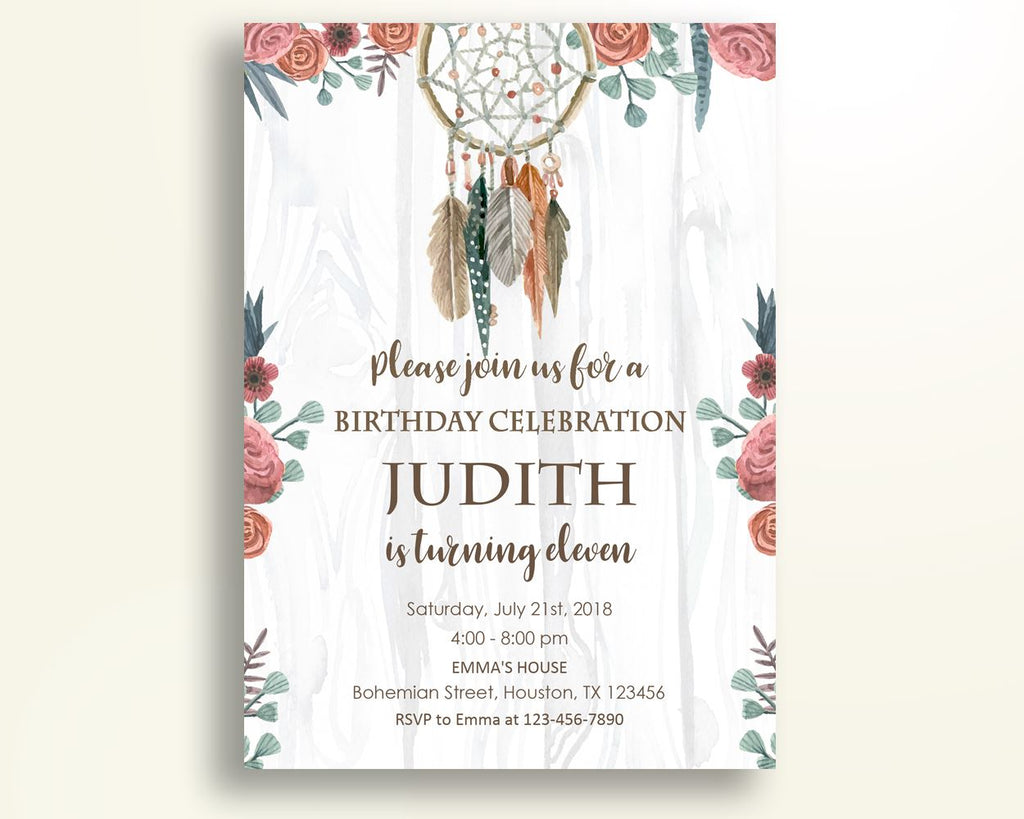 Boho Birthday Invitation Dreamcatcher Birthday Party Invitation Boho ...