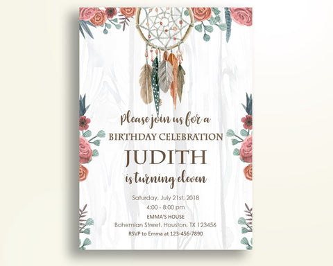 Boho Birthday Invitation Dreamcatcher Birthday Party Invitation Boho Birthday Party Dreamcatcher Invitation Girl instant download WNJR9 - Digital Product
