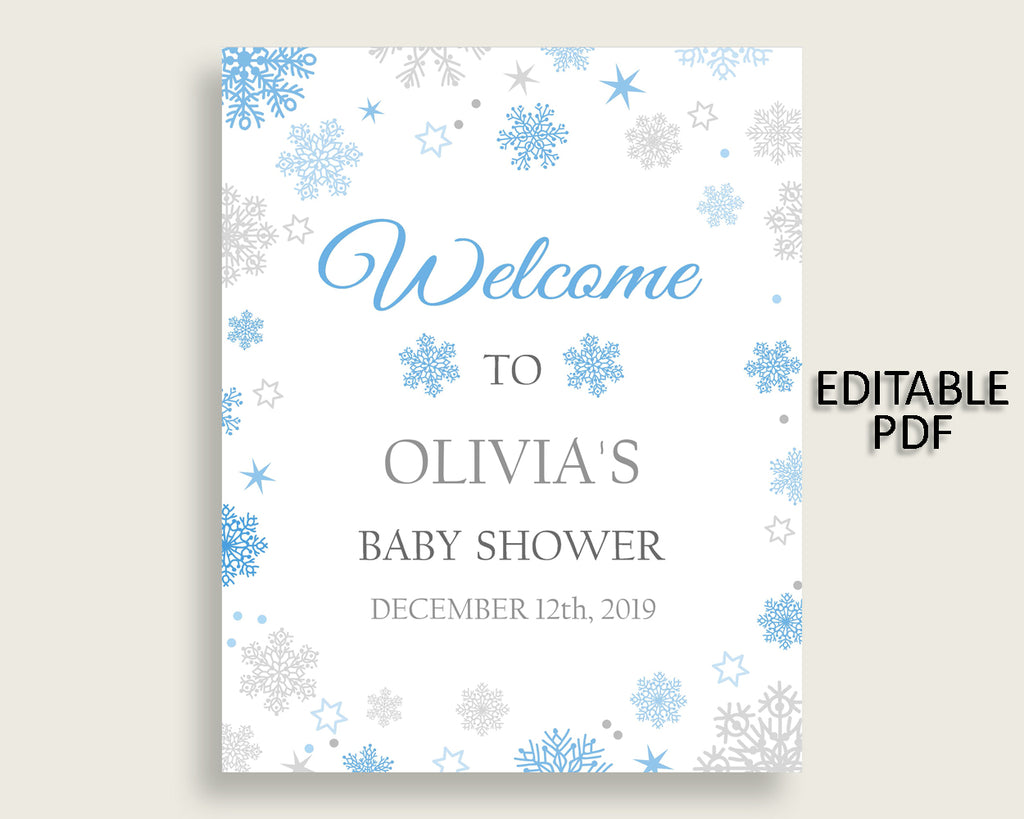 Welcome Sign Baby Shower Welcome Sign Snowflake Baby Shower Welcome Sign Blue Gray Baby Shower Snowflake Welcome Sign party theme NL77H