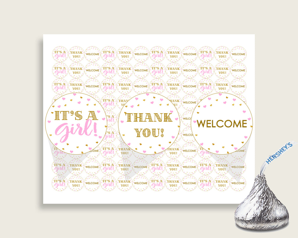 Hershey Kisses Baby Shower Hershey Kisses Hearts Baby Shower Hershey Kisses Baby Shower Hearts Hershey Kisses Pink Gold party decor bsh01