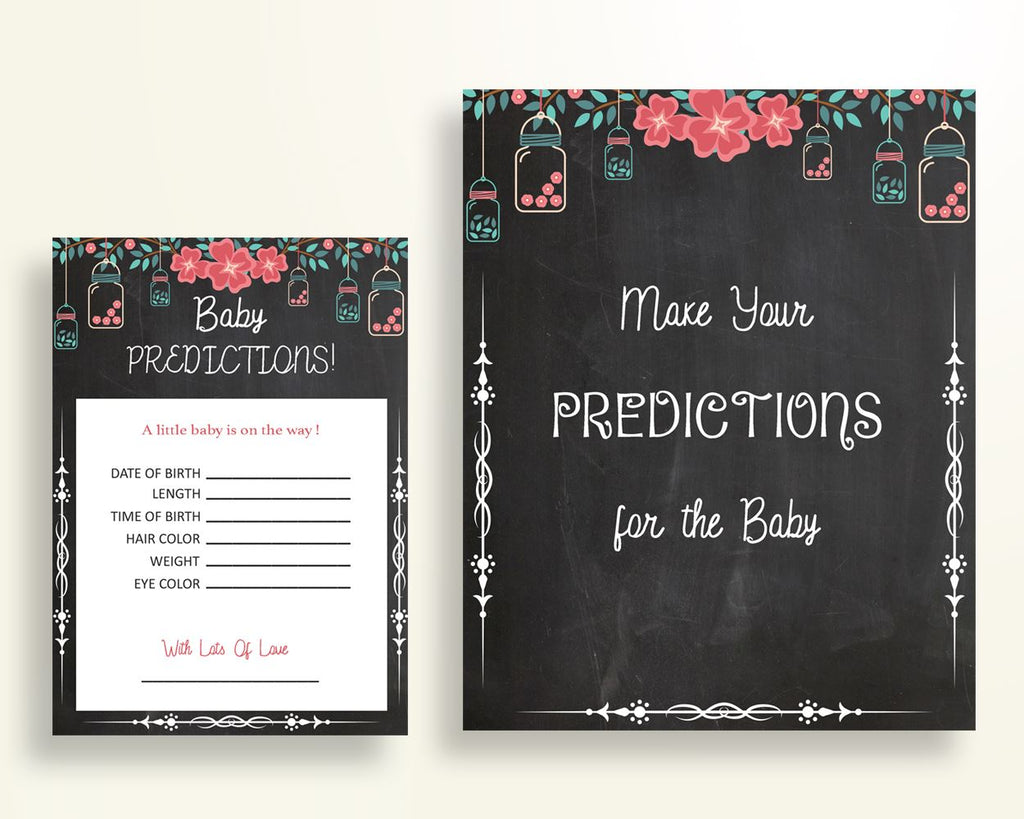 Baby Predictions Baby Shower Baby Predictions Chalkboard Baby Shower Baby Predictions Baby Shower Chalkboard Baby Predictions Black NIHJ1 - Digital Product